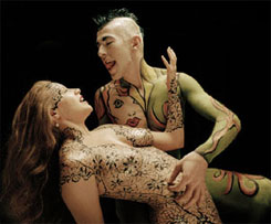 Michelien and Frederik body painted