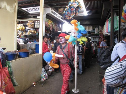 news clown at market